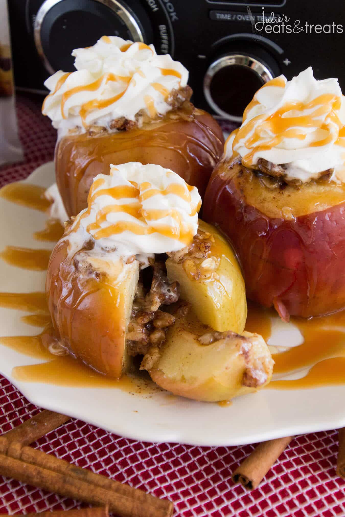 Light Crock Pot Baked Apples Recipe ~ Delicious, Apples Stuffed with Oatmeal, Brown Sugar and Walnuts then Baked to Perfection in the Slow Cooker! Then Drizzle them with Caramel!