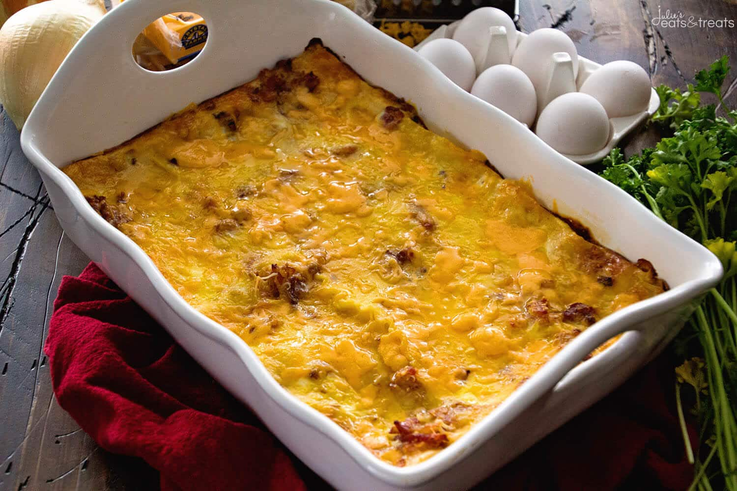 Ham & Cheese Overnight Breakfast Lasagna Recipe ~ Layers of Lasagna Noodles Stuffed with a Delicious Cheese Sauce, Bacon and More Cheese! Prep this the Night Before and Enjoy it for Breakfast or Brunch!