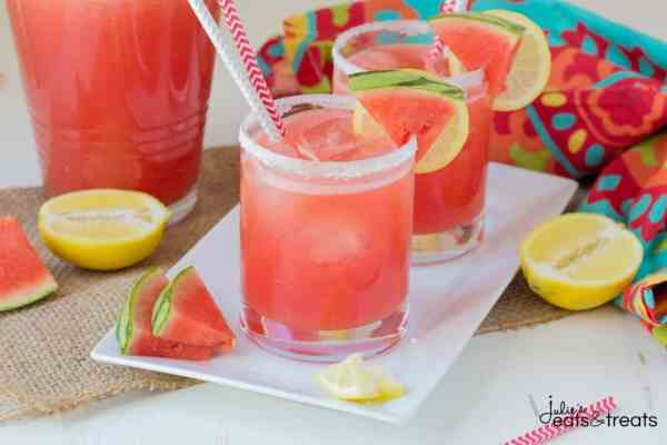 Spiked Watermelon Lemonade ~ A delicious drink that's a blend of watermelon, frozen lemonade and vodka. This is one adult drink you won't want to pass up this summer!