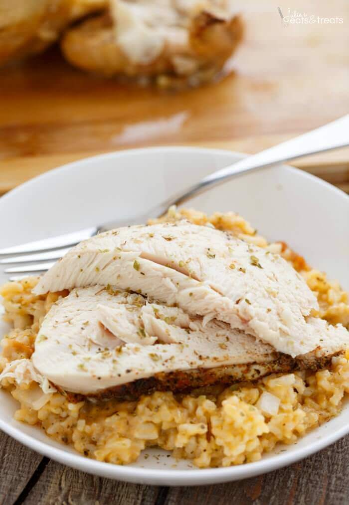 Crock Pot Chicken and Rice on white plate