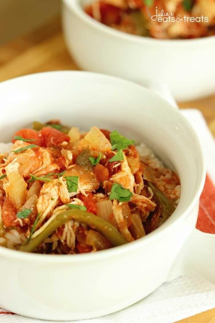 Crock Pot Chicken Cacciatore is a perfect slow cooker meal for a quick and easy weeknight dinner! Filled with tender shredded chicken, tomatoes, peppers, and onions.