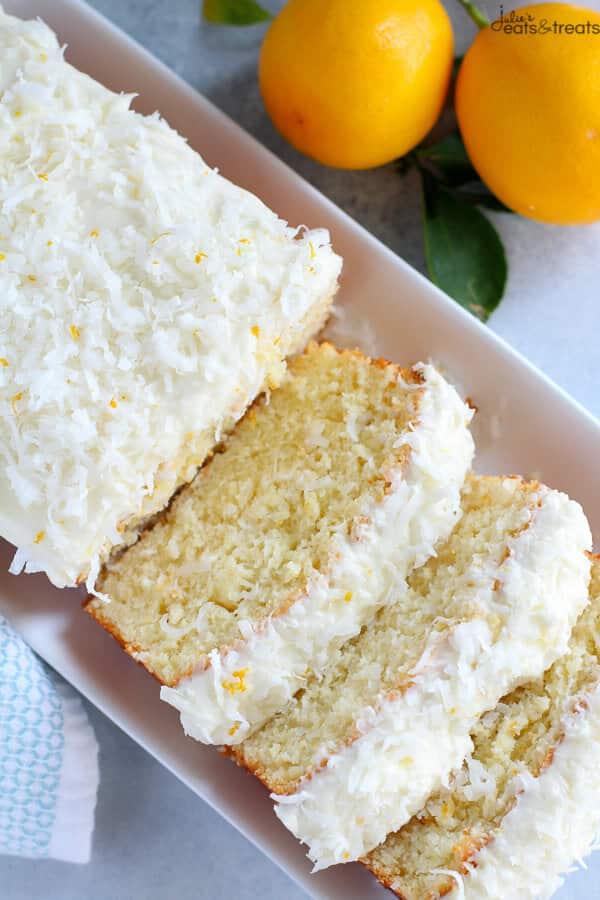 Lemon Coconut Cake Sliced
