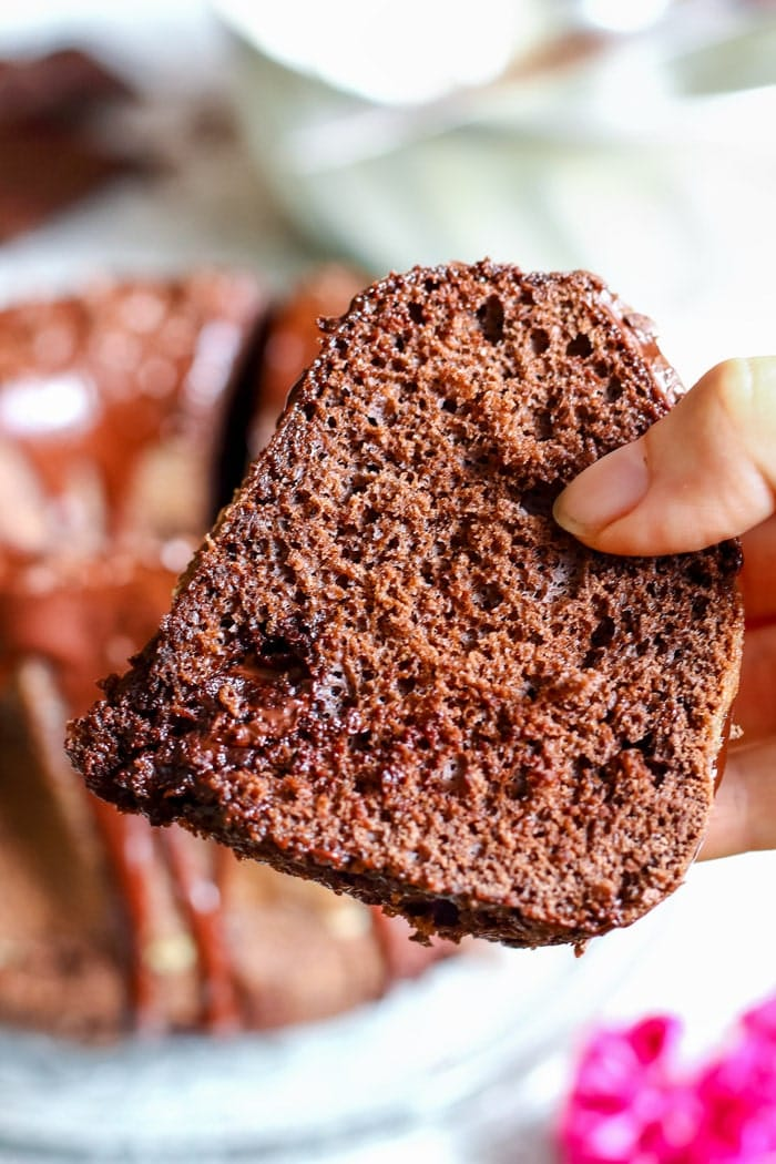 Chocolate Bundt Cake. Wow your guests with this pretty and easy dessert! It's covered with chocolate glaze, chocolate shavings and has chocolate pieces inside!