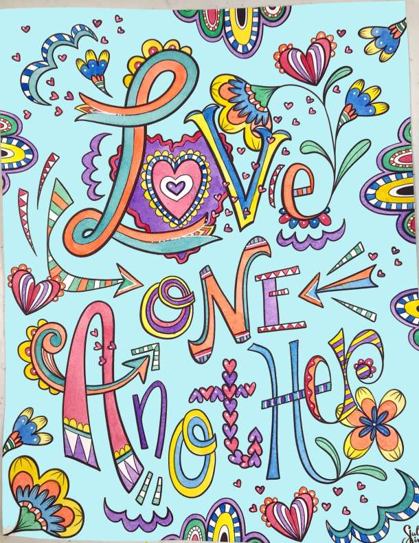 Love One Another colorful lettering