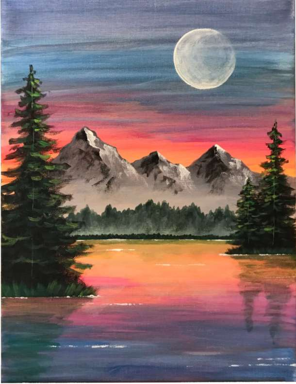 Bob Ross inspired Mountain scene with trees and lake, acrylic landscape