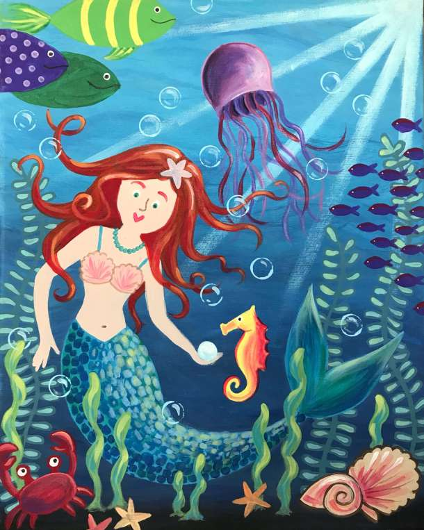 Acrylic painting, mermaid painting