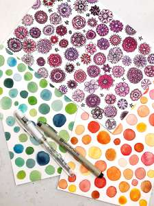Imaginary watercolor flowers, watercolor circles with pen overlay