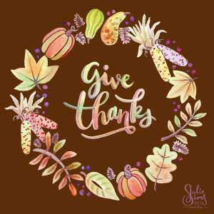 Watercolor wreath, give thanks, Fall wreath