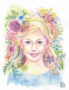 Whimsical watercolor, floral portrait