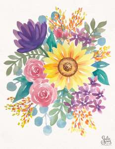 Watercolor flowers, fall, bouquet