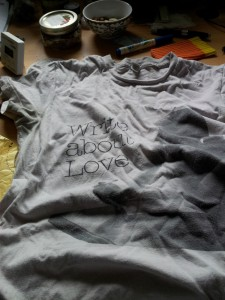 """Pink Belle and Sebastian """"Write About Love"""" T-shirt, adult size, a bit crumpled"""