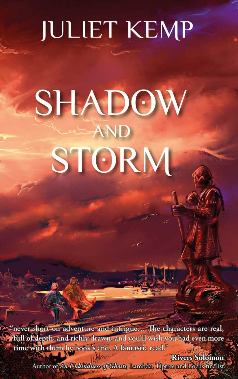 Cover of Shadow and Storm; a statue overlooks a stormy sky, with two figures talking in the background.