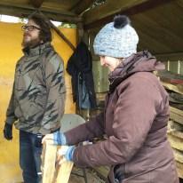 Me having a go at splitting timber.