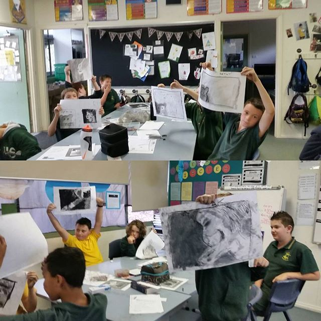 The boys were great and keen at my art lesson this morning. #artlesson #teaching #tonal #monotone #blockingin #primaryschool @thouartmum #lion #mouse #artgames #arthasnorules