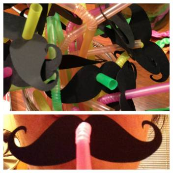 Neon straws with mustaches, because why not?!