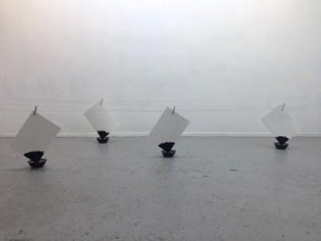 capilaridad #3 botes de cristal, cable, pinzas de madera, papel y tinta medidas variables 2014