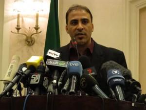 Government spokesman Moussa Ibrahim at a press conference in Tripoli, Libya.