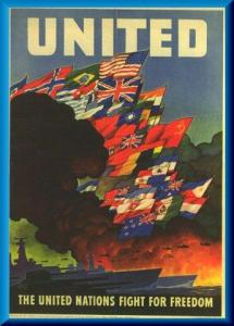 United, The United Nations Fight For Freedom, 57 x 41 cm, Farboffsetplakat von Leslie Darrell Ragan, United States Government Printing Office, Washington 1943. Herausgeber: United States Office of War Information, OWI Poster No 79