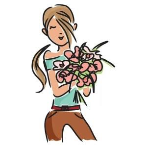 Щастлива жена с цветя