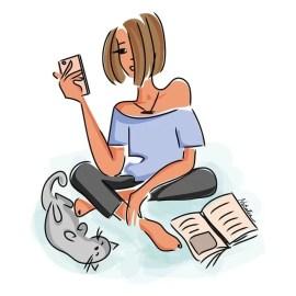 Жена с книга селфи