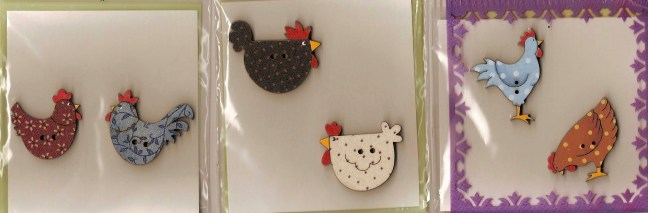 hand painted wooden buttons - chickens