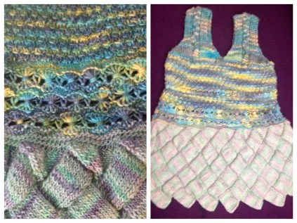 beautifully knitted child's dress, using entrelac and decorative stitching by florance (Romania)