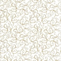 white cotton with gold swirls