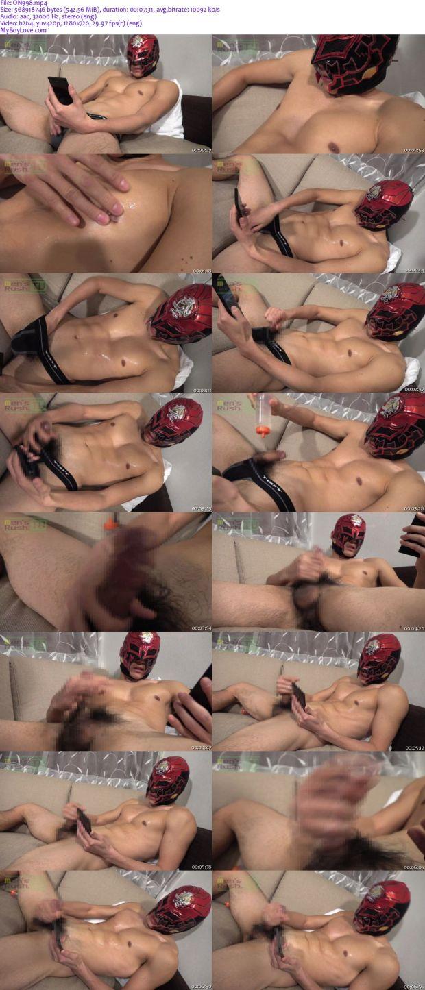 Men's Rush.TV – MR-ON998 – マッチョ美体なマスクマンが動画をオカズにチ○コを激しくシコシコ☆