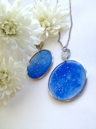 Hers and Hers Wedding Sky Necklaces