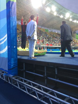 Steele Johnson and David Boudia accepting silver for 10m synchro diving
