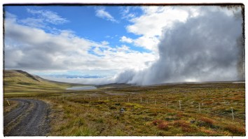 Wall of clouds sweeping over a heath.