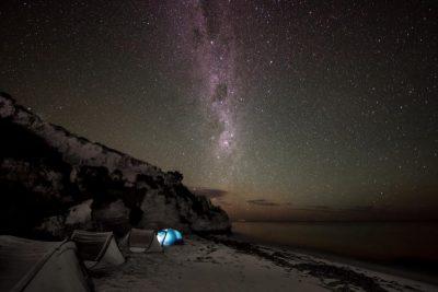 Beach camping under the stars. Green Head, Western Australia.
