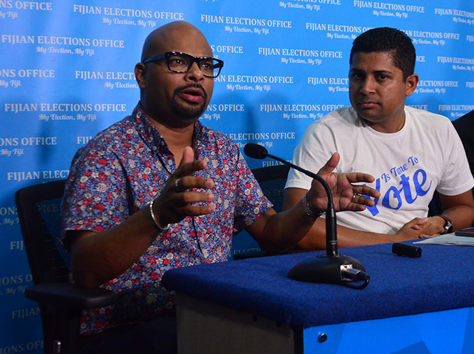 Fiji Media Industry Development Authority (MIDA) chair Ashwin Raj (left) and Supervisor of Elections Mohammed Saneem at a press conference in Suva.