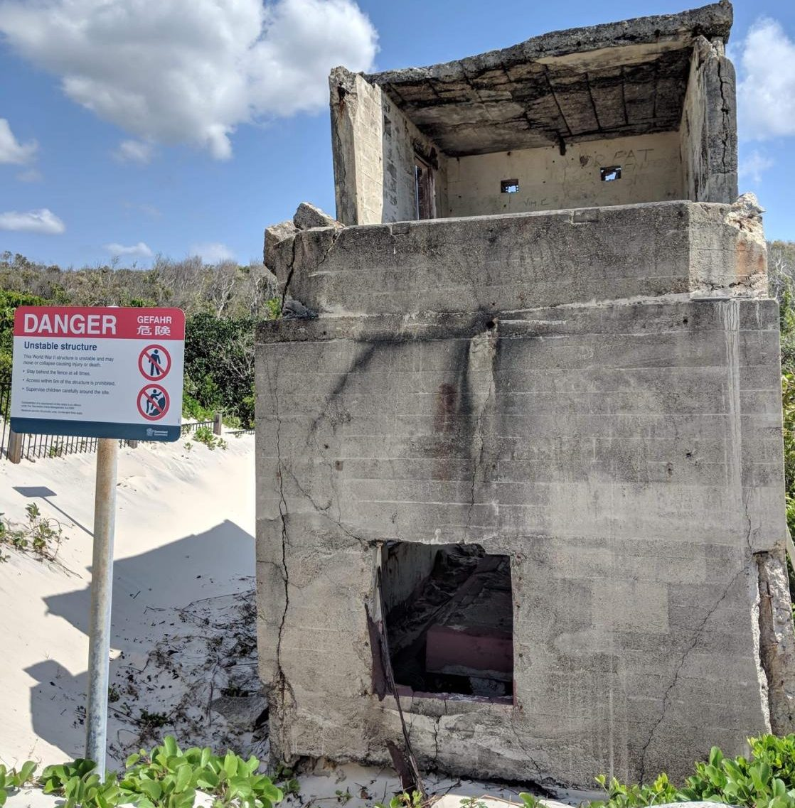 Erosion and a lack of maintenance have damaged the WWII forts on Bribie Island.