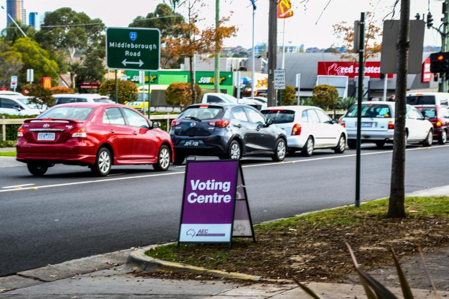 Traffic near the early voting centre at Blackburn North