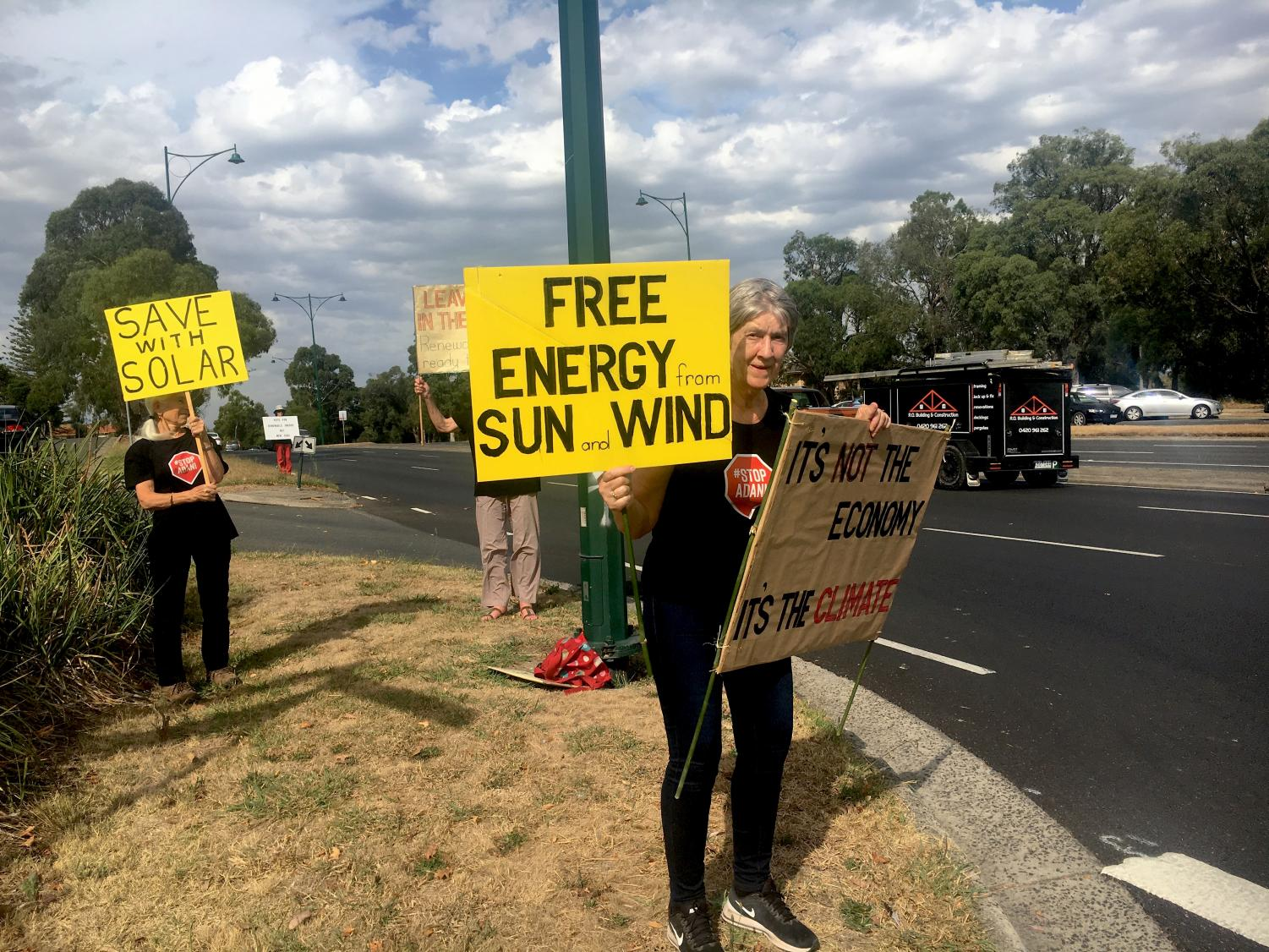 A flashmob of Adani mine protestors on Whitehorse Road, Mitcham, in the heart of Deakin.