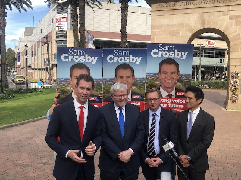 Sam+Crosby+and+Kevin+Rudd+dismiss+rumours+in+Burwood.+Photo%3A+Wuruo+Xu