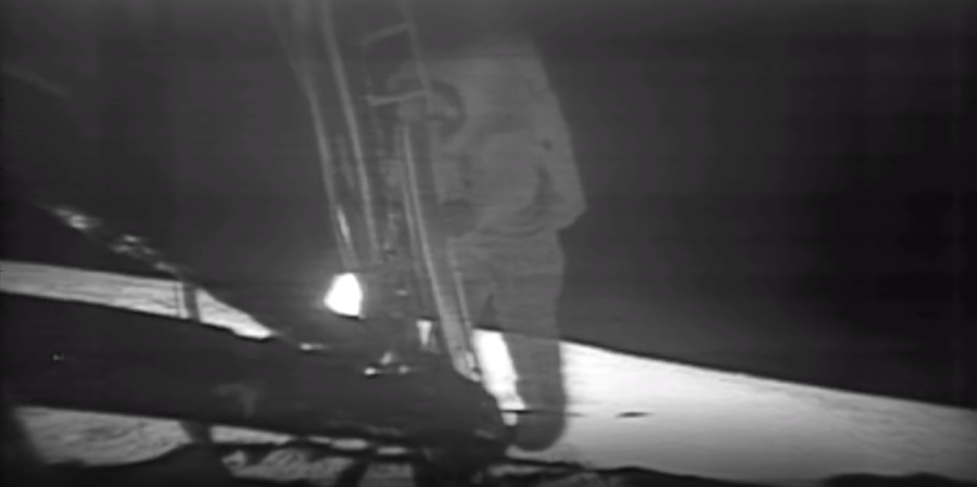 That first step. A still from NASA's Apollo 11 Moonwalk Montage