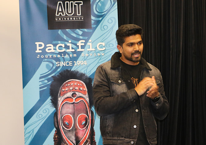 Journalist and documentary maker Blessen Tom ... two films produced this year, on climate change and media freedom in the Pacific. Image: Michael Andrew/PMC