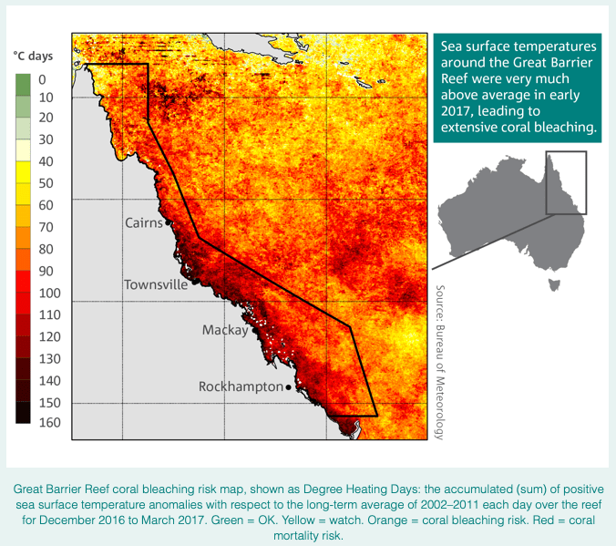 Map of north Queensland coastline's sea surface temperatures around the Great Barrier Reef being well ab