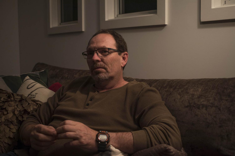 Lee Scrivener in his lounge room