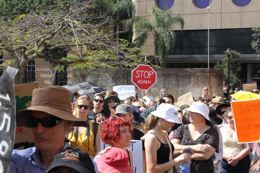 Protesters+at+Brisbane%27s+second+School+Strike+for+the+Climate+on+September+23%2C+with+a+Stop+Adani+sign+prominent