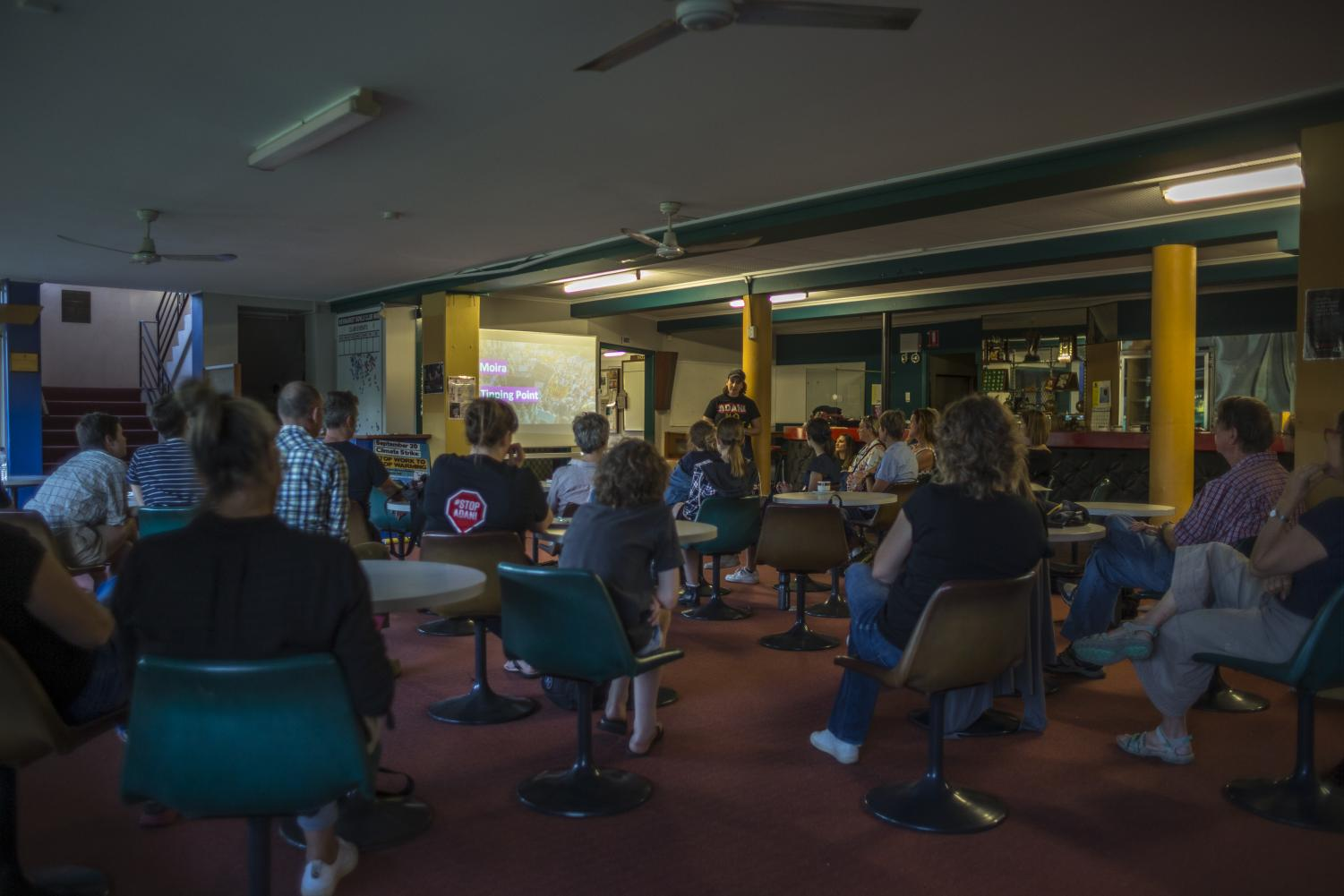 The crowd attending the Stop Adani information briefing at the Newmarket bowls club in early September.