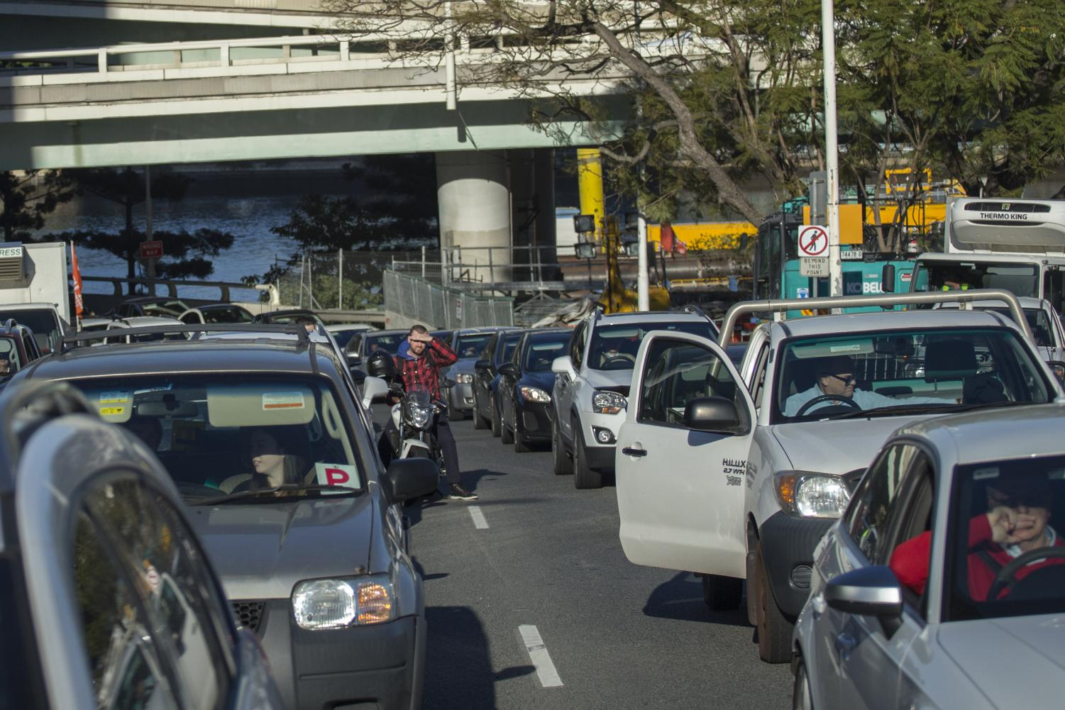 Another protest, another log jam and some drivers coming into Brisbane's CBD were unimpressed with the hold up.