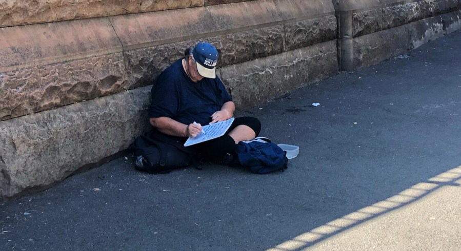 Homeless woman near Sydney's Central Station