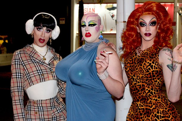 Veteran Gold Coast drag queens (from left) Natasha St James, Sellma Soul and Scarlett Fever perform to sold-out crowds in Draglicious. Photo: Tilly Hannan
