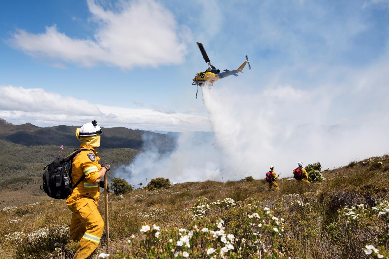 Remote-area firefighters and water-bombing aircraft work to suppress the Gell River fire at Mount Wright on January 11 2019. Photo: Warren Frey (Tasmania Fire Service).