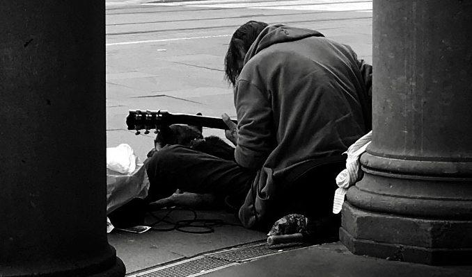 Homeless: Behind the sleeper in the doorway