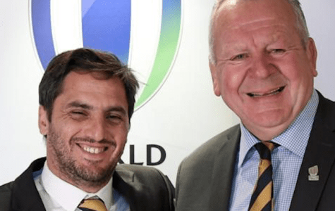 Rugby rivals with the future at stake ... challenger Argentina's Agustín Pichot (left) and the status quo chairman Bill Beaumont (England).