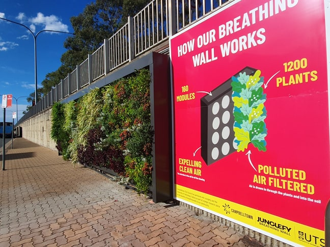 Breathing wall at Campbelltown Station